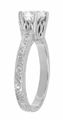 Art Deco Filigree Scrolls Tiara Crown 1.19 Carat Solitaire Diamond Engraved Engagement Ring in 18 Karat White Gold - Item R199WD125 - Image 3