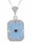 Art Deco Filigree Sky Blue Sun Ray Crystal Pendant Necklace with Sapphire and Diamond in Sterling Silver