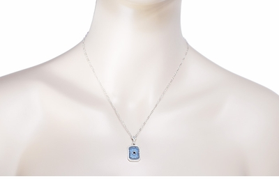 Art Deco Filigree Sky Blue Sun Ray Crystal Pendant Necklace with Sapphire and Diamond in Sterling Silver - Item N185 - Image 2