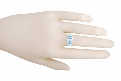 Art Deco Filigree Sky Blue Topaz Loving Duo Ring in Sterling Silver | Vintage Two Stone Ring Design - Item R1123 - Image 3