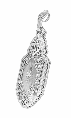 Art Deco Lavalier Filigree Starburst Crystal & Diamond Pendant Necklace in Sterling Silver - Item N168 - Image 1