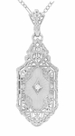 Art Deco Lavalier Filigree Starburst Crystal & Diamond Pendant Necklace in Sterling Silver