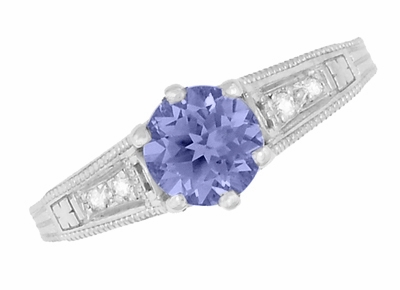Art Deco Filigree Tanzanite and Diamond Engagement Ring in 14 Karat White Gold - Item R158TA - Image 5
