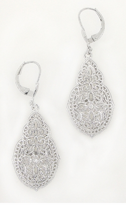 Art Deco Filigree Teardrop Diamond Earrings in 14 Karat White Gold - Item E156 - Image 1