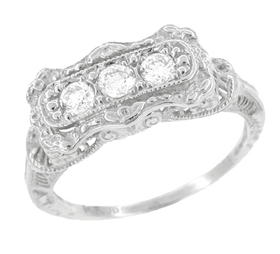 "Art Deco Filigree ""Three Stone"" Diamond Ring in 14 Karat White Gold"