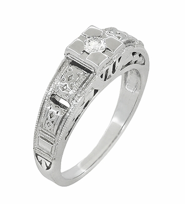 Art Deco Filigree Tiered Diamond Engagement Ring in 14K White Gold - Item R160 - Image 1