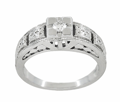 Art Deco Filigree Tiered Diamond Engagement Ring in 14K White Gold - Item R160 - Image 2