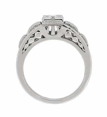 Art Deco Filigree Tiered Diamond Engagement Ring in 14K White Gold - Item R160 - Image 4