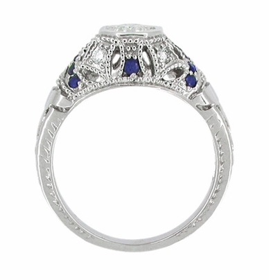 Art Deco Filigree Vintage Inspired Diamond Engagement Ring with Side Sapphires in 14K White Gold - Item R647 - Image 2