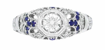 Art Deco Filigree Vintage Inspired Diamond Engagement Ring with Side Sapphires in 14K White Gold - Item R647 - Image 3
