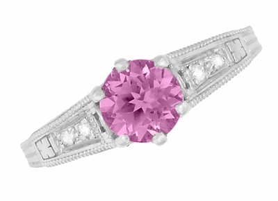 Art Deco Filigree Vintage Style Pink Sapphire and Diamond Platinum Engagement Ring - Item R158PSP - Image 5