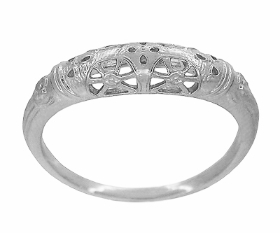 Art Deco Filigree Wedding Ring in 14 Karat White Gold - Item WR428W - Image 1