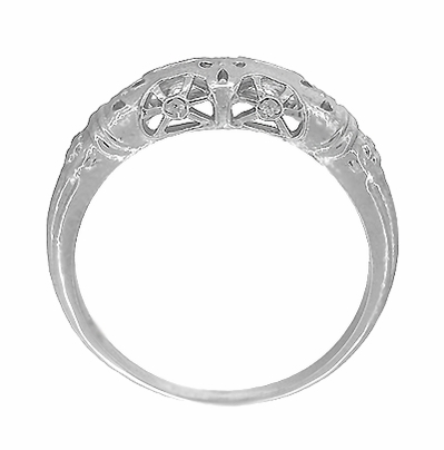 Art Deco Filigree Wedding Ring in 14 Karat White Gold - Item WR428W - Image 4