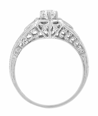 Art Deco Filigree Wheat and Scrolls Diamond Engraved Engagement Ring in 14 Karat White Gold - Item R407 - Image 1
