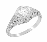 Art Deco Filigree White Sapphire Engagement Ring in 14K White Gold | Vintage Design