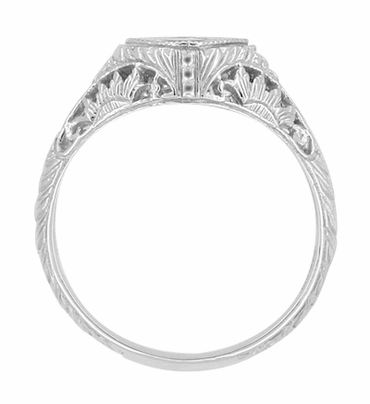 Art Deco Filigree White Sapphire Engagement Ring in 14K White Gold | Vintage Design - Item R1207WWS - Image 1
