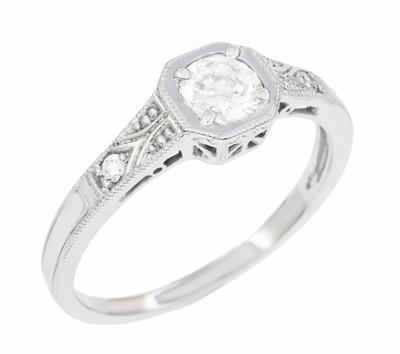 Art Deco Filigree White Sapphire Engagement Ring in 18 Karat White Gold  - Item R298WWS - Image 2