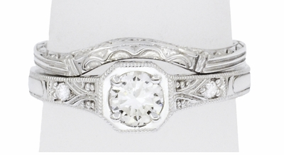 Art Deco Filigree White Sapphire Engagement Ring in 18 Karat White Gold  - Item R298WWS - Image 5