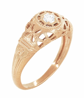 Art Deco Filigree White Sapphire Ring in 14 Karat Rose Gold - Item R428RWS - Image 1