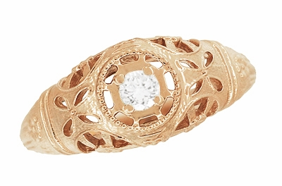 Art Deco Filigree White Sapphire Ring in 14 Karat Rose Gold - Item R428RWS - Image 3