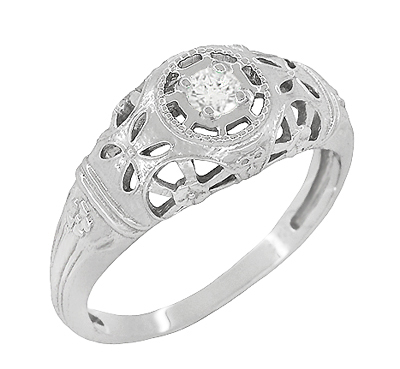 Art Deco Filigree White Sapphire Ring in 14 Karat White Gold