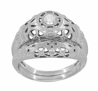 Art Deco Filigree White Sapphire Ring in 14 Karat White Gold - Item R428WWS - Image 5
