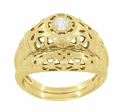 Art Deco Filigree White Sapphire Ring in 14 Karat Yellow Gold - Item R428YWS - Image 5