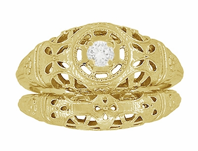 Art Deco Filigree White Sapphire Ring in 14 Karat Yellow Gold - Item R428YWS - Image 6