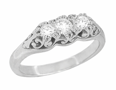 "Art Deco Filigree White Sapphire ""Three Stone"" Ring in 14 Karat White Gold - Item R890WS - Image 1"