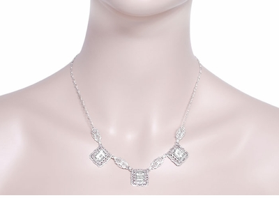 Art Deco Filigree White Topaz 3 Drop Necklace in Sterling Silver - Item N140WT - Image 2