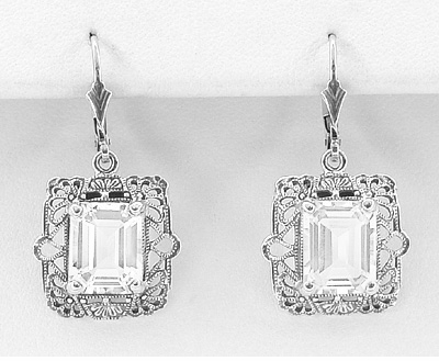 Art Deco Filigree White Topaz Drop Earrings in Sterling Silver - Item E154WT - Image 1