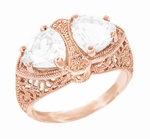 Art Deco Filigree White Topaz Loving Duo Ring in 14 Karat Rose Gold