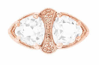 Art Deco Filigree White Topaz Loving Duo Ring in 14 Karat Rose Gold - Item R1129RWT - Image 1