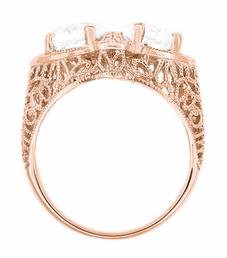 Art Deco Filigree White Topaz Loving Duo Ring in 14 Karat Rose Gold - Item R1129RWT - Image 2