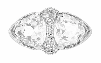Art Deco Filigree White Topaz Loving Duo Ring in 14 Karat White Gold - Item R1129WWT - Image 1