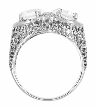 Art Deco Filigree White Topaz Loving Duo Ring in 14 Karat White Gold - Item R1129WWT - Image 2