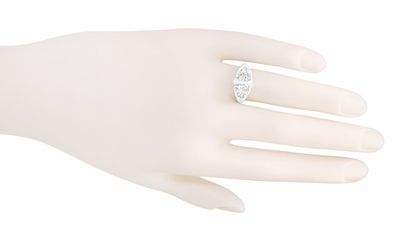 Art Deco Filigree White Topaz Loving Duo Ring in 14 Karat White Gold - Item R1129WWT - Image 3