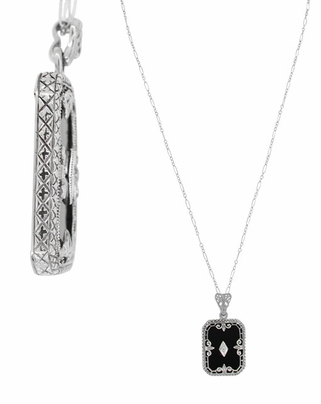 Art Deco Fleur de Lis Filigree Black Onyx and Diamond Pendant Necklace in Sterling Silver - Item N137 - Image 1