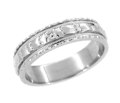 Art Deco Floral Platinum Wedding Band - Size 6.75