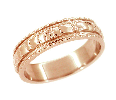 Art Deco Floral Wedding Ring in 14 Karat Rose Gold - Size 6.75