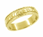 Art Deco Floral Wedding Ring in 18 Karat Gold