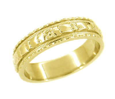 Art Deco Floral Wedding Ring in 18 Karat Yellow Gold - Size 6.5
