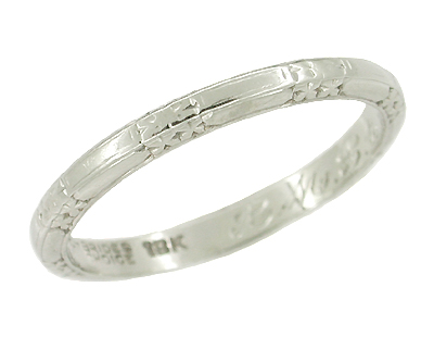 Art Deco Flowers and Bars Wedding Ring in 18 Karat White Gold