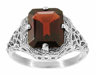 Art Deco Flowers and Leaves Almandine Garnet Filigree Ring in 14 Karat White Gold - Item R289WG - Image 1