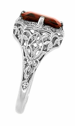 Art Deco Flowers and Leaves Almandine Garnet Filigree Ring in 14 Karat White Gold - Item R289WG - Image 2