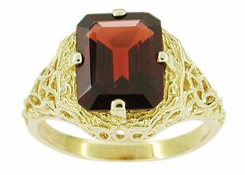 Art Deco Flowers and Leaves Almandine Garnet Filigree Ring in 14 Karat Yellow Gold - Item RV193 - Image 1
