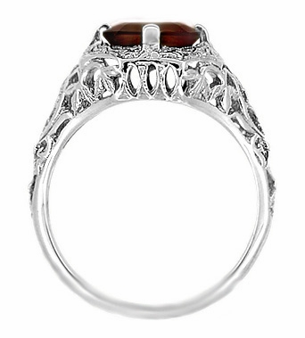 Art Deco Flowers and Leaves Almandine Garnet Filigree Ring in Sterling Silver - Item SSR16G - Image 3