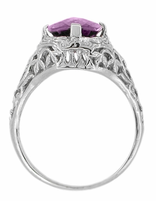 Art Deco Flowers and Leaves Amethyst Filigree Ring in 14 Karat White Gold - Item R324 - Image 1