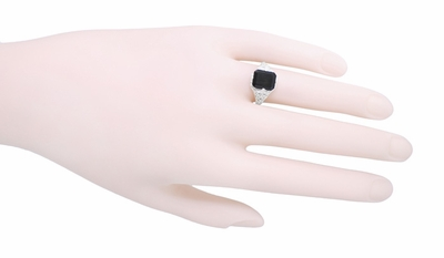 Art Deco Flowers and Leaves Black Onyx Filigree Ring in Sterling Silver - Item SSR15o - Image 2