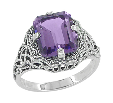 Art Deco Flowers and Leaves Emerald Cut Lilac Amethyst Filigree Ring in Sterling Silver
